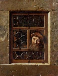 """Samuel Van Hoogstraten """"Un vecchio che guarda dalla finestra"""" (1653)"""